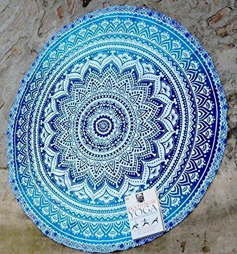 RawyalCrafts Alfombrilla redonda de algodón para yoga, diseño indio de mandala, estilo jipi, bohemio, gitano, uso como manta o tapiz