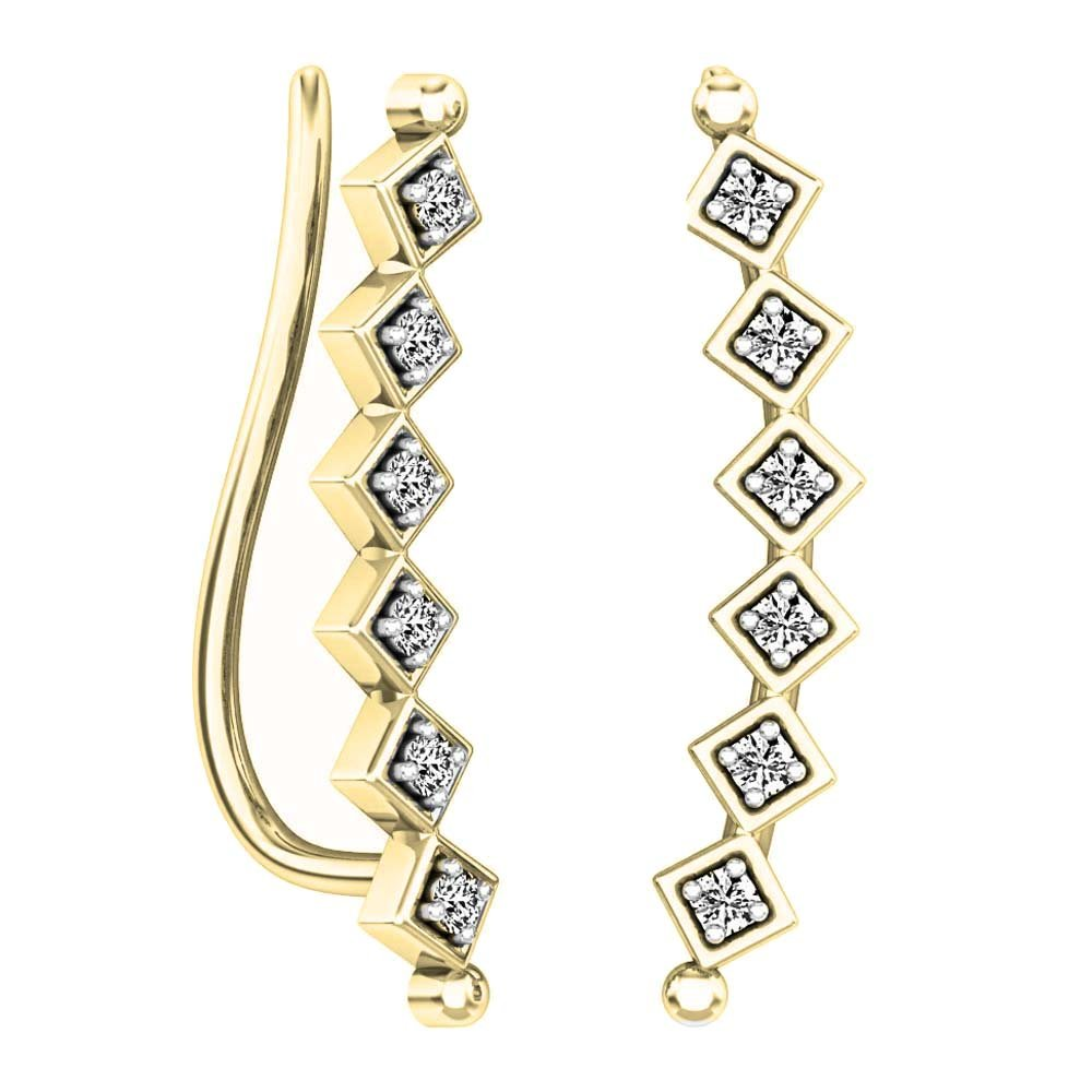 Dazzlingrock Collection 0.15 Carat (ctw) 14K Round Cut White Diamond Ladies Sweep Up Square Ear Climber Earrings, Yellow Gold