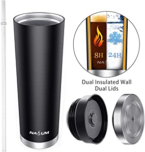 Double Walled Tumbler Cup, NASUM 22 oz Hot Iced Coffee Tumbler with 1 Straw,2 Lids, Vacuum Insulated 18/8 Stainless Steel Coffee Cup, Multi-functional Tumbler the best gift for Travel,Work,Fitness