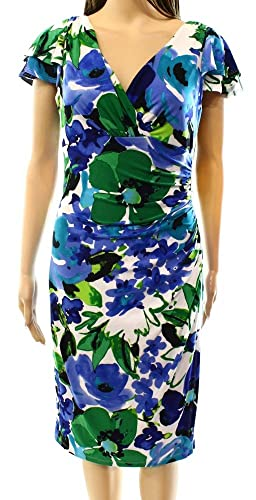 Lauren Ralph Lauren Green Women's Sheath Printed Dress Blue 2