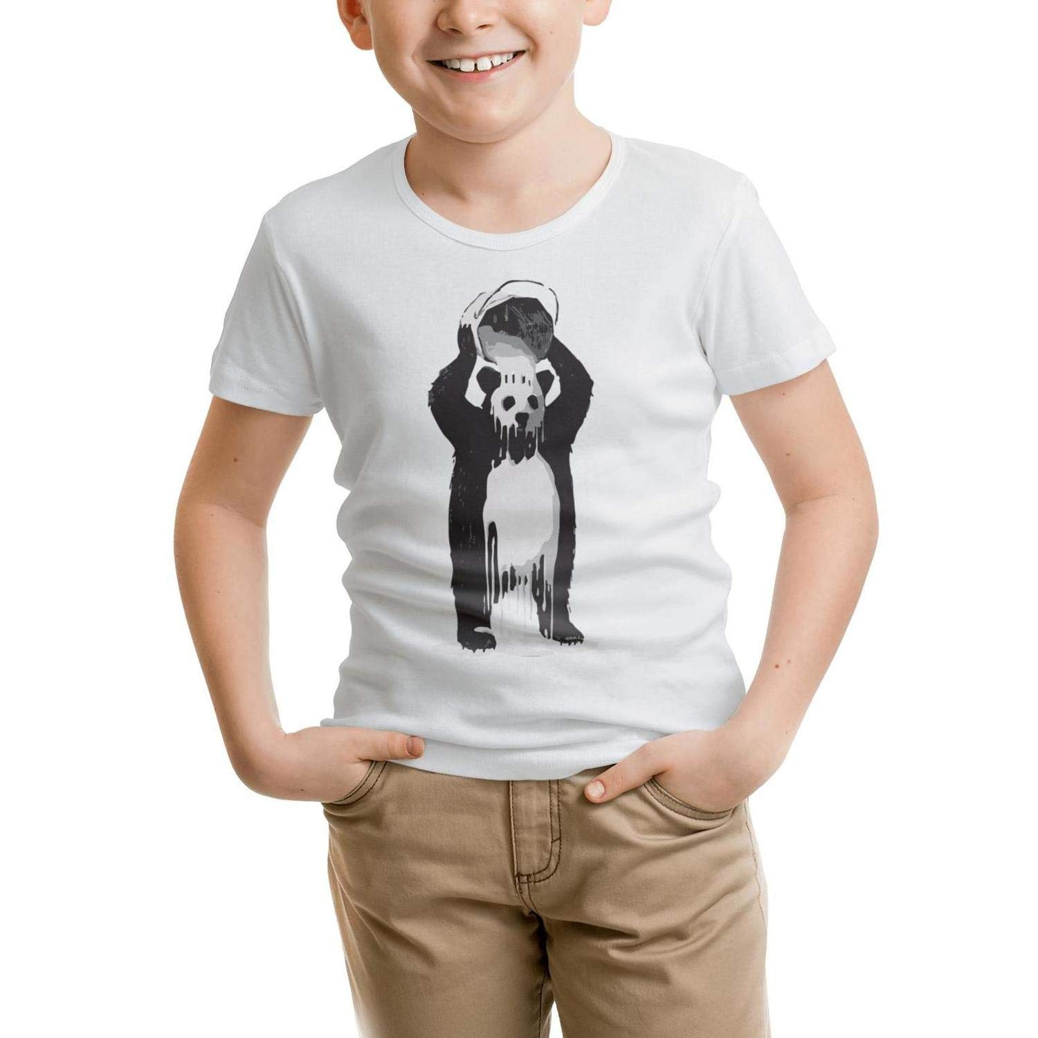 Panda splashs Himself White Oil Paint Unisex Boys Girls Print t Shirts
