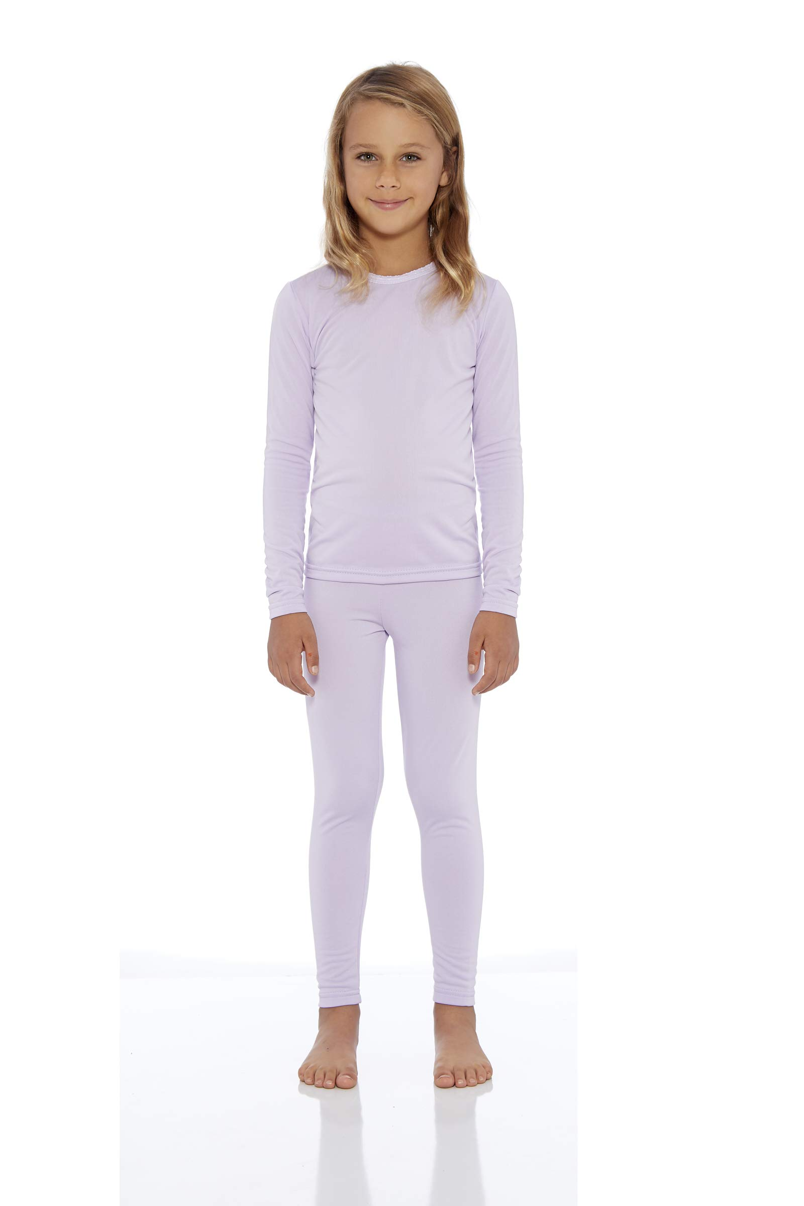 Rocky Girl's Smooth Knit Thermal Underwear 2PC Set Long John Top and Bottom Pajamas Light Purple, M by Rocky