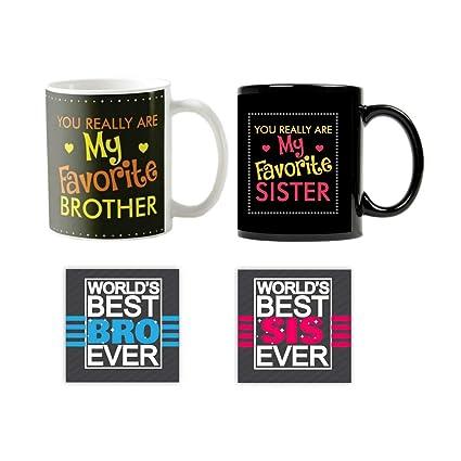 YaYa CafeTM Bhaidooj Birthday Gifts For Brother Sister Favourite Printed Ceramic Coffee