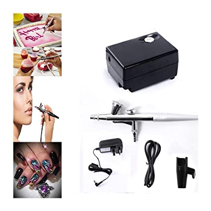 Pinkiou Airbrush Maquillaje Kit pistola pistola 0,4 mm aguja con mini compresor para la