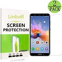 Linboll Huawei Honor 7X Panzerglas Schutzfolie, [2 Stück] Panzerglas Schutzfolie 9H Härtegrad für Honor 7X, Ultra Transparenz Full HD, Blasenfrei, Anti-Fingerabdruck, Displayschutzfolie für Honor 7X