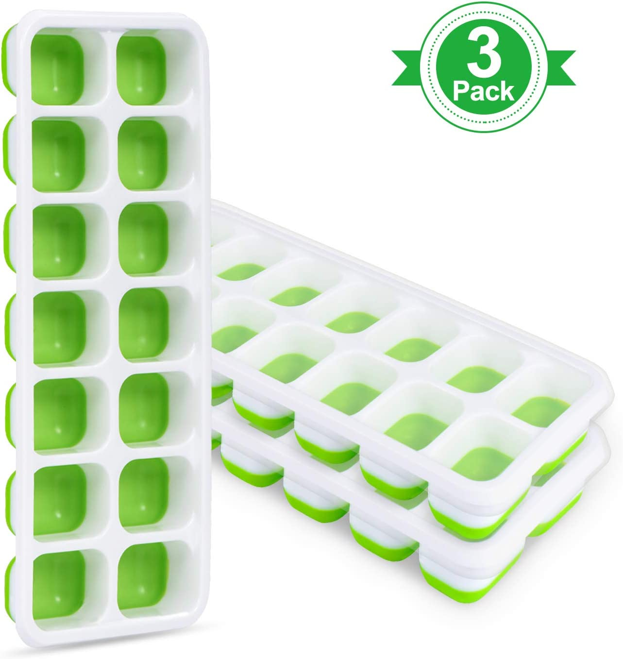 Adoric Ice Cube Trays 3 Pack, Easy-Release Silicone and Flexible 14-Ice Trays with Removable Lid, LFGB Certified and BPA Free, Stackable and Dishwasher Safe (White + Green)