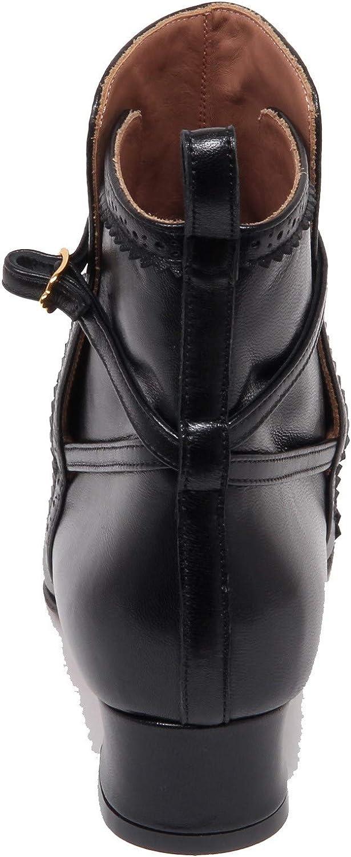 L'Autre Chose F6304 Tronchetto Donna Black Vintage Boot Shoe Woman Nero