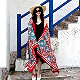 Amyove Women Stylish Large Beach Sun-screen Scarf Retro Printing Tassel Travelling Tippet 2 color rich glass 180100
