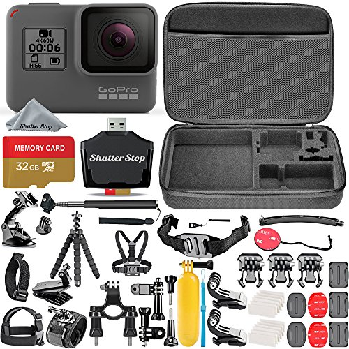 GoPro HERO6 Black + 32GB Memory Card + Hard Case + Card Reader + Chest Strap Mount + Head Strap Mount + Flexible Tripod + Extendable Monopod + Floating Handle + Hero 6 Best Value Bundle by Shutter Stop