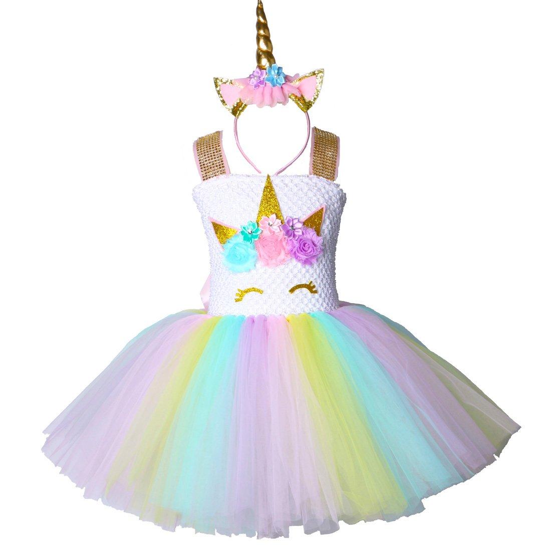 Pastel Unicorn Tutu Dress for Girls Kids Birthday Party Unicorn Costume Outfit with Headband Size 5T 6T