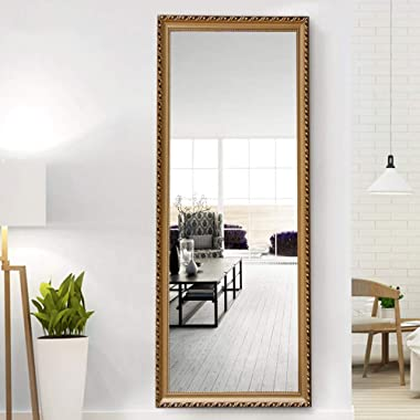 NeuType Full Length Mirror Standing Hanging or Leaning Against Wall, Large Rectangle Bedroom Mirror Floor Mirror Dressing Mirror Wall-Mounted Mirror, Gold Solid Wood Plaster Frame, 65 x22