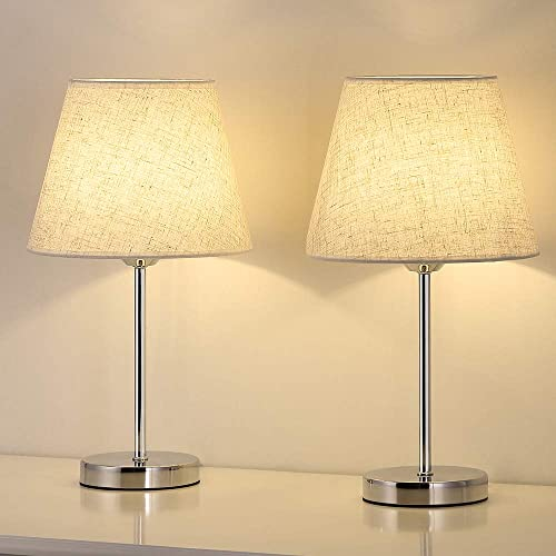 Small Table Lamp Set of 2, Bedside Desk Lamps Pair, Nightstand Lamps 2 Pack, Silver Metal Lamp with Linen Shade for Bedrooms, Dressers, Coffee Table