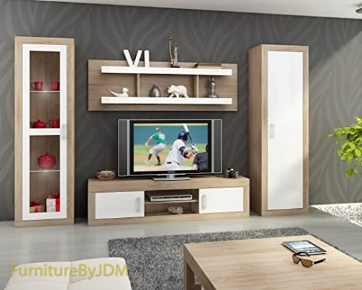 Mueble de pared para TV, juego de mesa de TV para la sala de estar «Verin 4», con banco, sin apoyo, con estantes montados y armario 1D: Amazon.es: Hogar