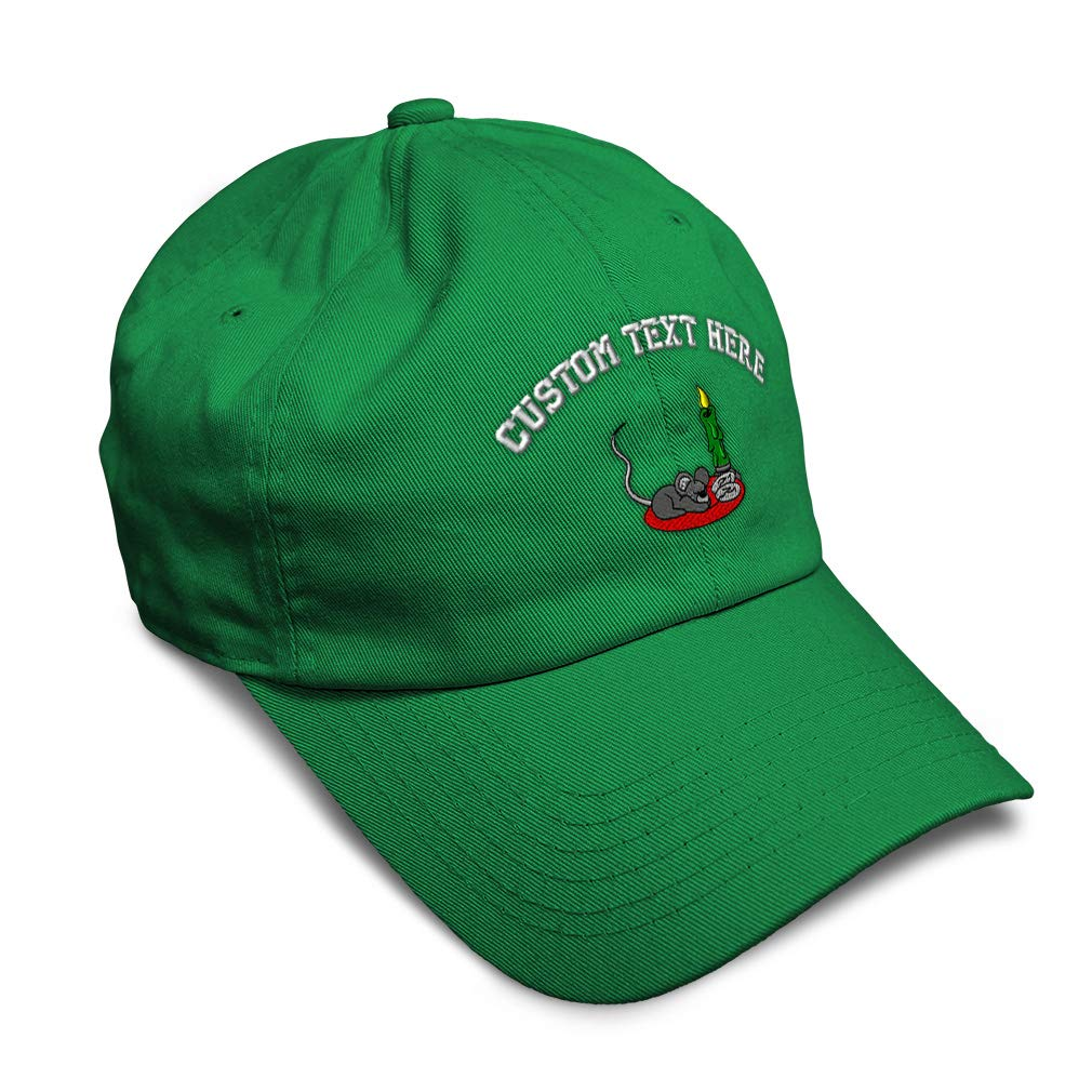 Custom Soft Baseball Cap Mouse is Waiting for Santa Embroidery Twill Cotton