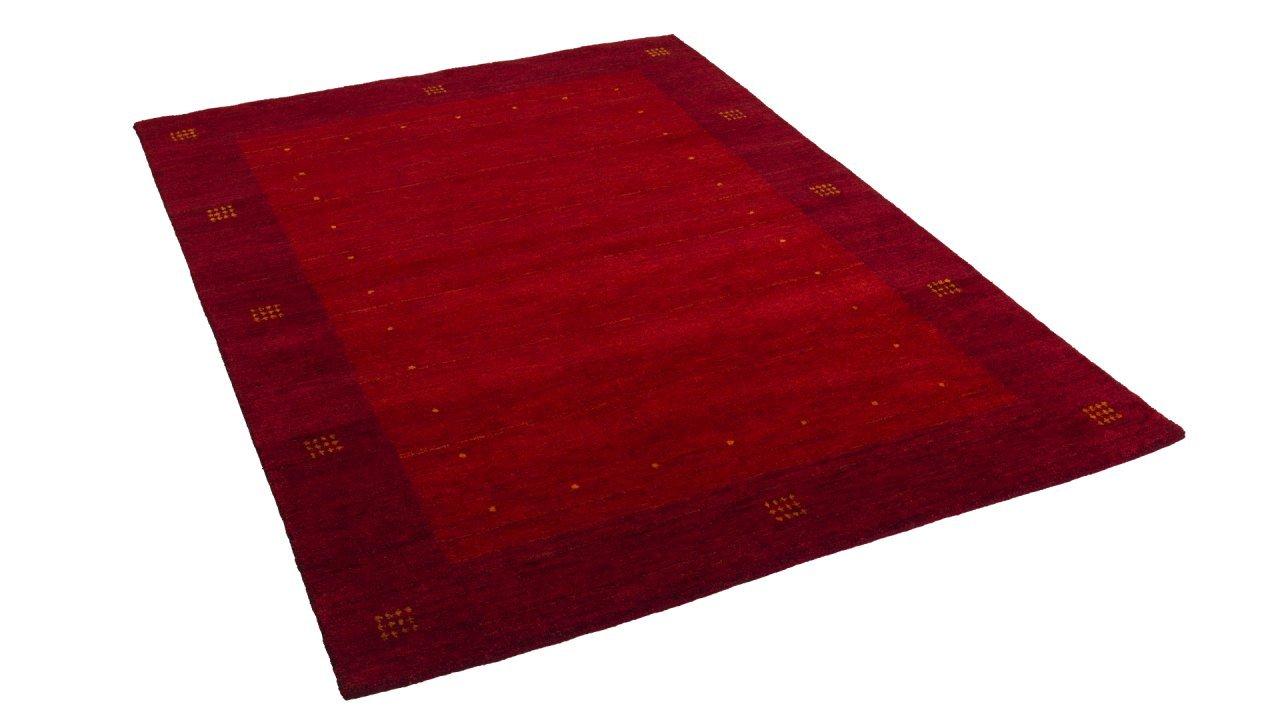 Natur Teppich Indo Gabbeh Indira Rot Bordüre in 7 Größen