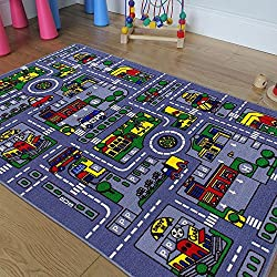 Kids/Baby Room/Daycare/Classroom/Playroom Area Rug. City. Roads. Map. Train Tracks. Cars. Play Mat. Fun. Educational. Non-Slip Gel Back. Bright Colorful Vibrant Colors (8 Feet X 10 Feet)