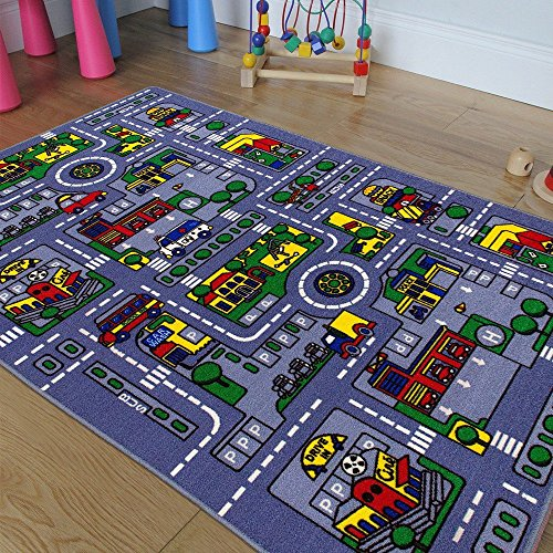 CHAMPION RUGS RACE TRACK CITY TRAFFIC MAP NON SLIP/ GEL BACK AREA RUG PLEASE CHECK ALL PICTURES (3 Feet X 5 (Champions 3 Photo)