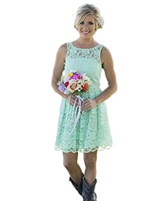 CoCogirls Short Mint Formal Lace Bridesmaids Wedding Junior Party Dresses Gown (UK6, green)