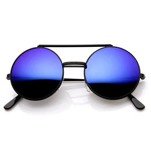 497f35e9718dc Image Unavailable. Image not available for. Color  Limited Edition Color Mirror  Flip-Up Lens Round Circle Django Sunglasses ...