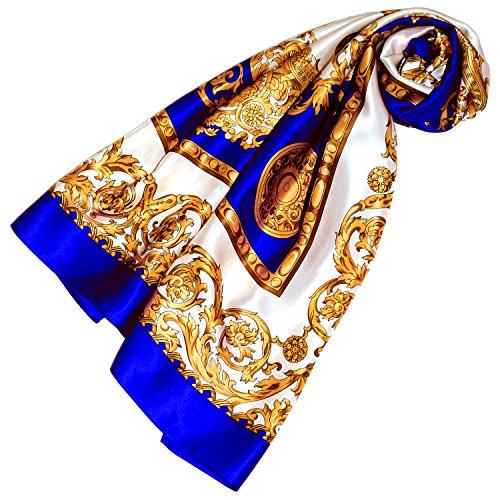 LORENZO cANA femme style baroque seidentuch 100%  soie tissu en satin de coton juwel écharpe 100 cm x 110 cm-bleu 89003 noir/doré
