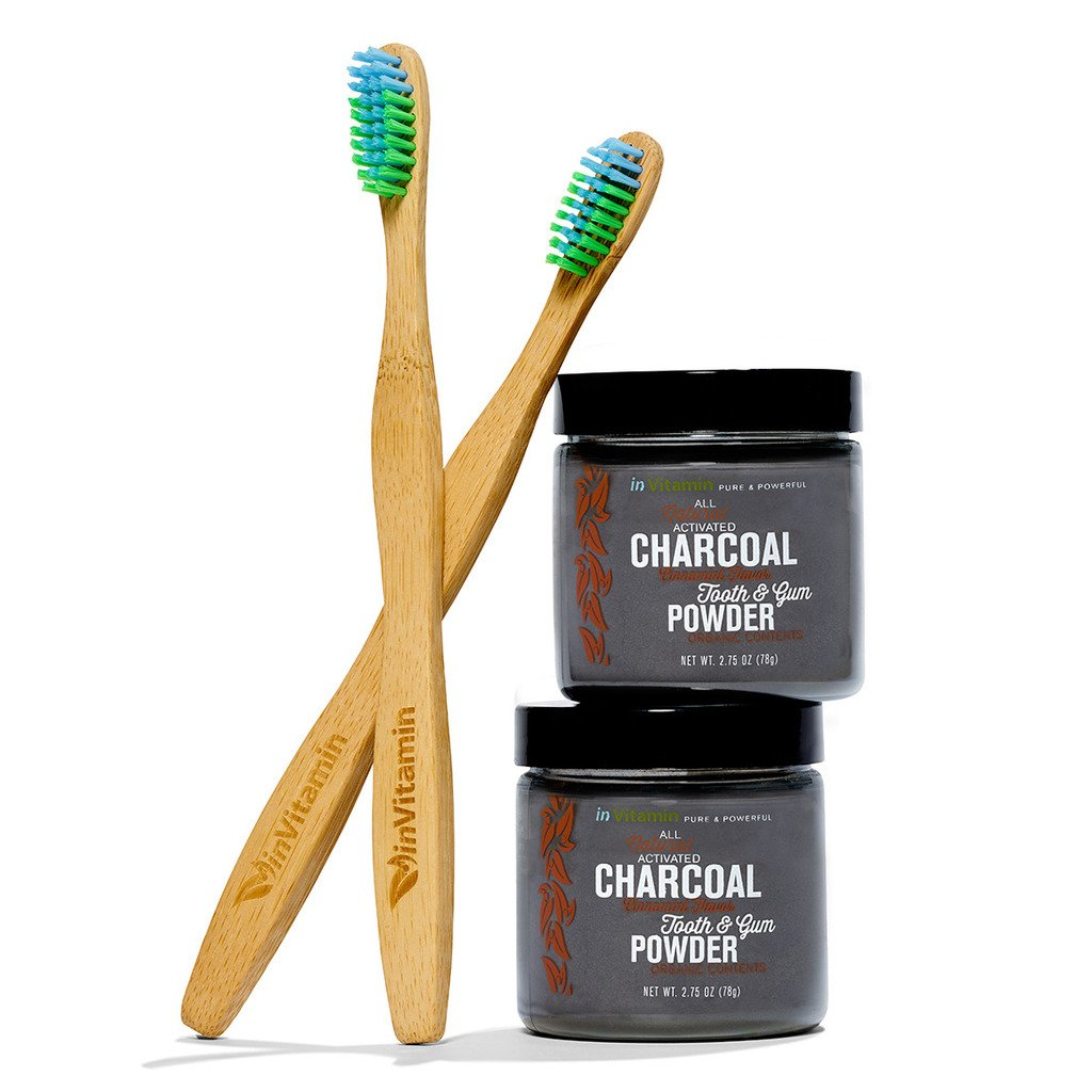 inVitamin Natural Whitening Tooth & Gum Powder with Activated Charcoal (Cinnamint) + WooBamboo Toothbrush (2-pack)