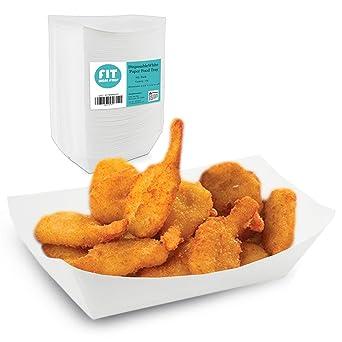 Amazon.com: Bandeja de comida de papel blanco – resistente a ...