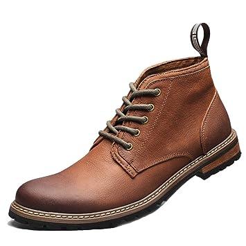 Yra Business Martin Boots para Hombre De Cuero Genuino Invierno Vintage Lace Up Botines Cowboy Boots
