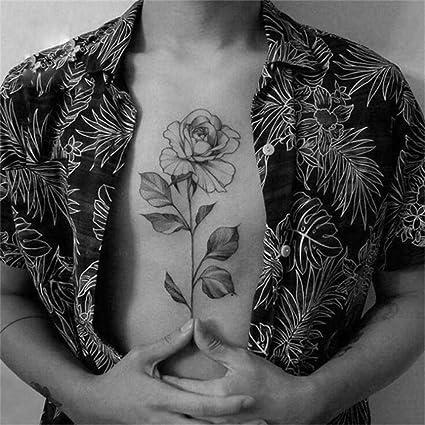 Tatuajes temporales de color rosa y negro para el pecho, para ...