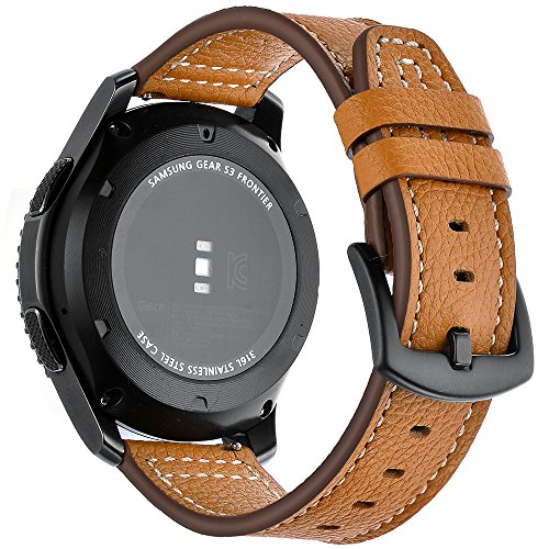 AiiKo Compatible with Gear S3 Bands,22mm Genuine Leather Watch Strap Buckle Bracelet with Quick Release Pin Replacement for Samsung Gear S3 Classic/Frontier/Galaxy Watch 46mm,Brown