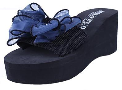 Yooeen Damen Mädchen Keilabsatz Flip Flops Bohemian Platform Sandalen Blumen Pantoletten Hausschuhe Sommer Schuhe KoTZscbEX