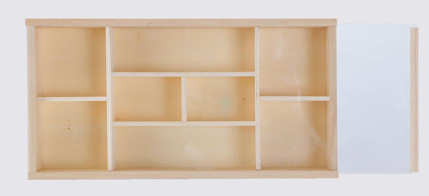Scatola bacheca portaoggetti,8 posti,con coperchio, decoupage, cm 32x1x5h, in legno E-line