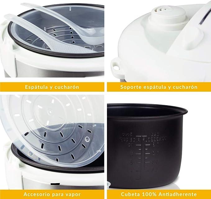 NEWCOOK Robot de Cocina Multifunción, Capacidad 5 Litros, Programable Hasta 24H, Cocina Automáticamente, 8 Menús Preconfigurados y Función Mantener Caliente Hasta 24H. Incluye Cubeta Antiadherente: Amazon.es