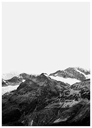 Nordic print art print wall art mountain print black and white print