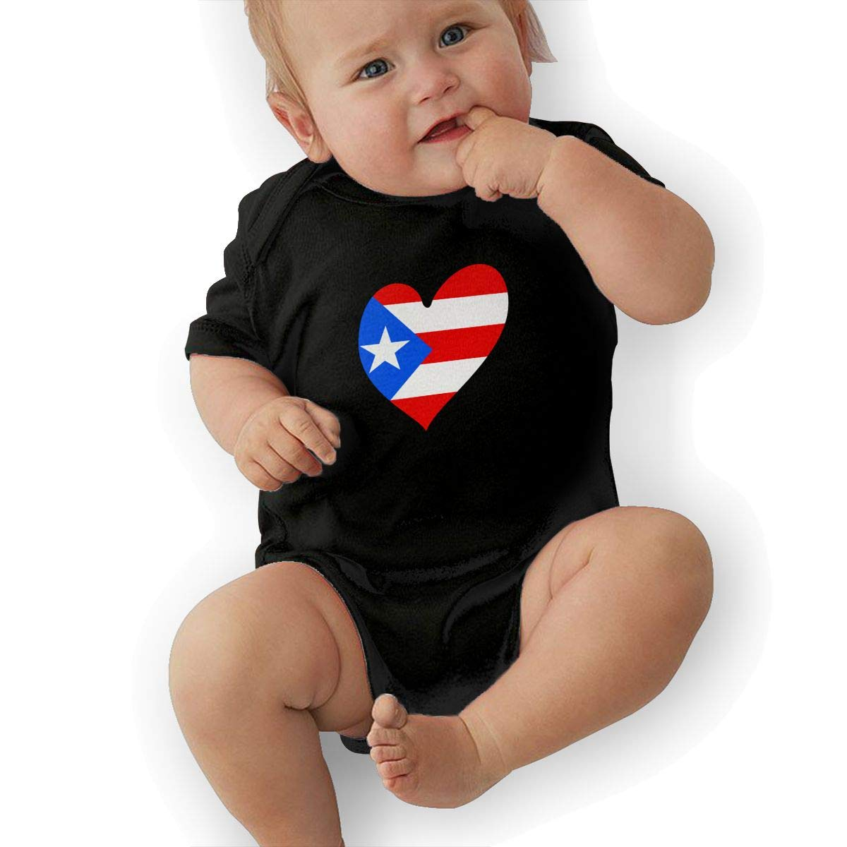 Heart Shaped Puerto Rico Flag Toddler Baby Girl Boy Romper Jumpsuit Short Sleeved Bodysuit Tops Clothes