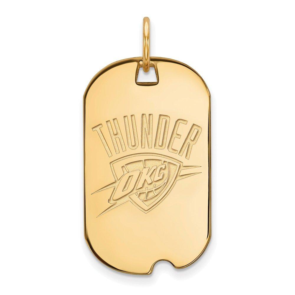 NBA 14 KイエローゴールドメッキスターリングシルバーOklahoma City Thunder LG犬タグペンダント   B01LY3J81F