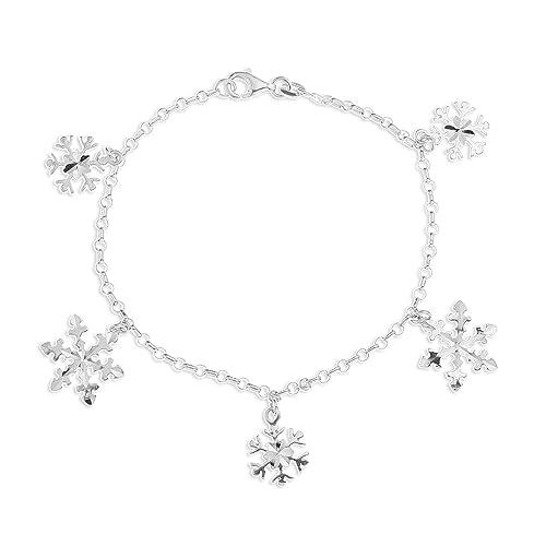 Ornami Armband mit Schneeflocken, Sterling-Silber, 19cm