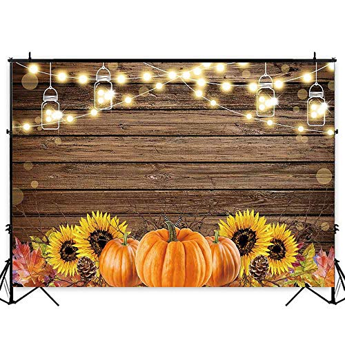 Funnytree 7x5ft Durable Fabric Autumn Thanksgiving Theme Party Backdrop No Wrinkles Rustic Wooden Floor Fall Harvest Pumpkins Photography Background Sunflower Retro Wood Decoration Banner Photo -