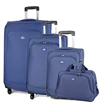 cc52abc048 David Jones - Set de 3 Valises Souples 4 Roues + 1 Sac Voyage - Lot ...