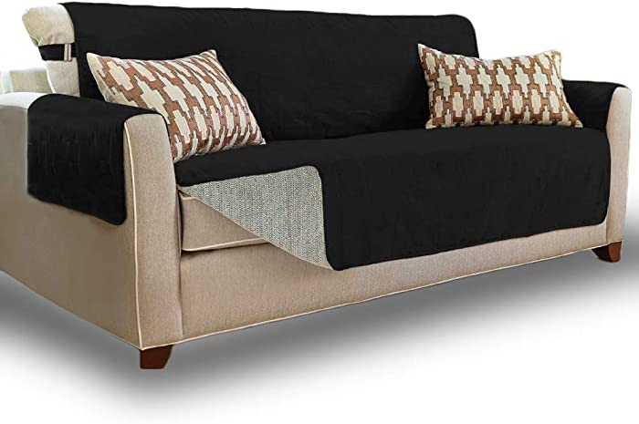Gorilla Grip Original Slip Resistant X-Large Oversized Sofa Protector, Seat Width to 78 Inch, Patent Pending Suede-Like Furniture Slipcover, 2 Inch Straps, Couch Slip Cover for Dogs, Sofa, Jet Black