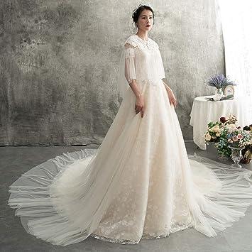 WFL Vestido de Novia Blanco Que arrastra Adelgazar Sen Princess Dreams Vestido de Novia Palabra Hombro