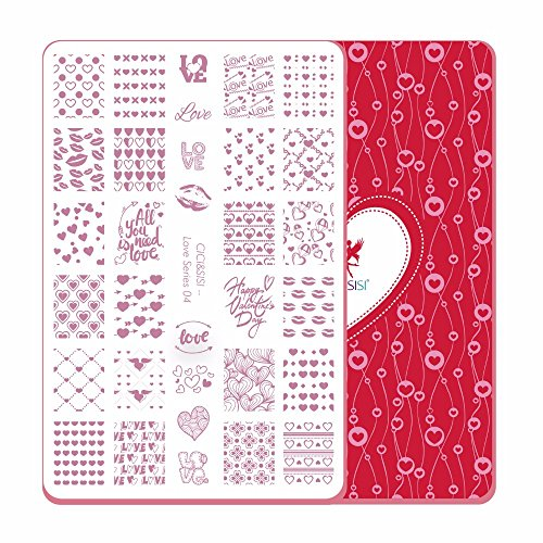 CICI&SISI Nail Art Stamping Plates Kit Love Valentine's Day Set Plate Manicure Template-Love (04) - Angel Wings Templates
