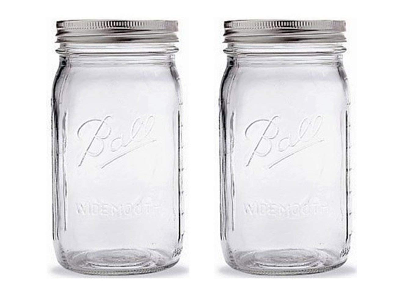 Ball Mason Jar-32 oz. Clear Glass Ball Wide Mouth-Set of 2