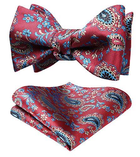 HISDERN Men's Paisley Floral Jacquard Self Bow Tie Pocket Square Set Wedding Party