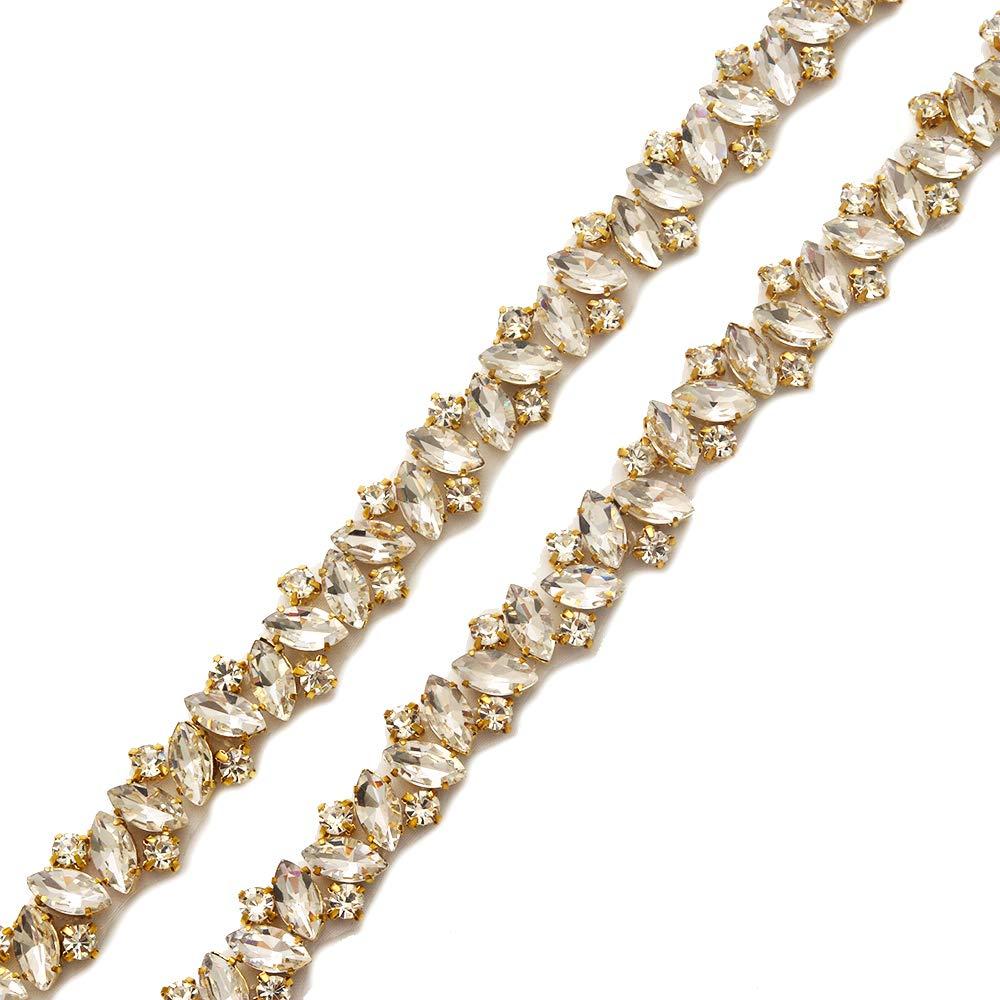 Yanstar Handmade Crystal Rhinestone Wedding Bridal Belts With Ribbons For Bridal Dress WENXI