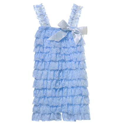 700d16532d6 Amazon.com  Cutie Baby Baby Girls  Lace Ruffle Romper Small Baby Blue   Clothing