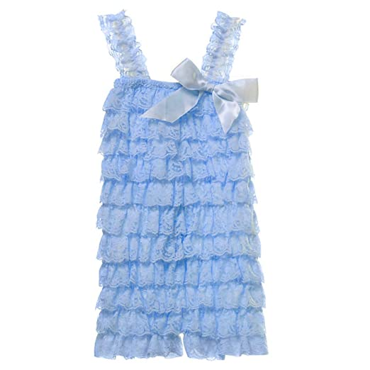 29bdf01af1c8 Amazon.com  Cutie Baby Baby Girls  Lace Ruffle Romper Small Baby Blue   Clothing