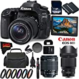 Canon EOS 80D DSLR Camera with 18-55mm Lens 1263C005 (International Version) + Sigma 85mm f/1.4 DG HSM Art Lens for Canon EF + 128GB SDXC Class 10 Memory Card + LP-E6N Lithium-Ion Battery Bundle