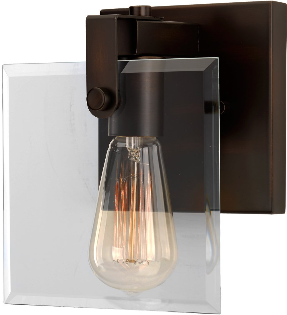 Luxury Modern Farmhouse Bathroom Vanity Light, Small Size: 8.38''H x 7''W, with Industrial Chic Style Elements, Olde Bronze Finish and Clear Shade, UHP2454 from the Bristol Collection by Urban Ambiance