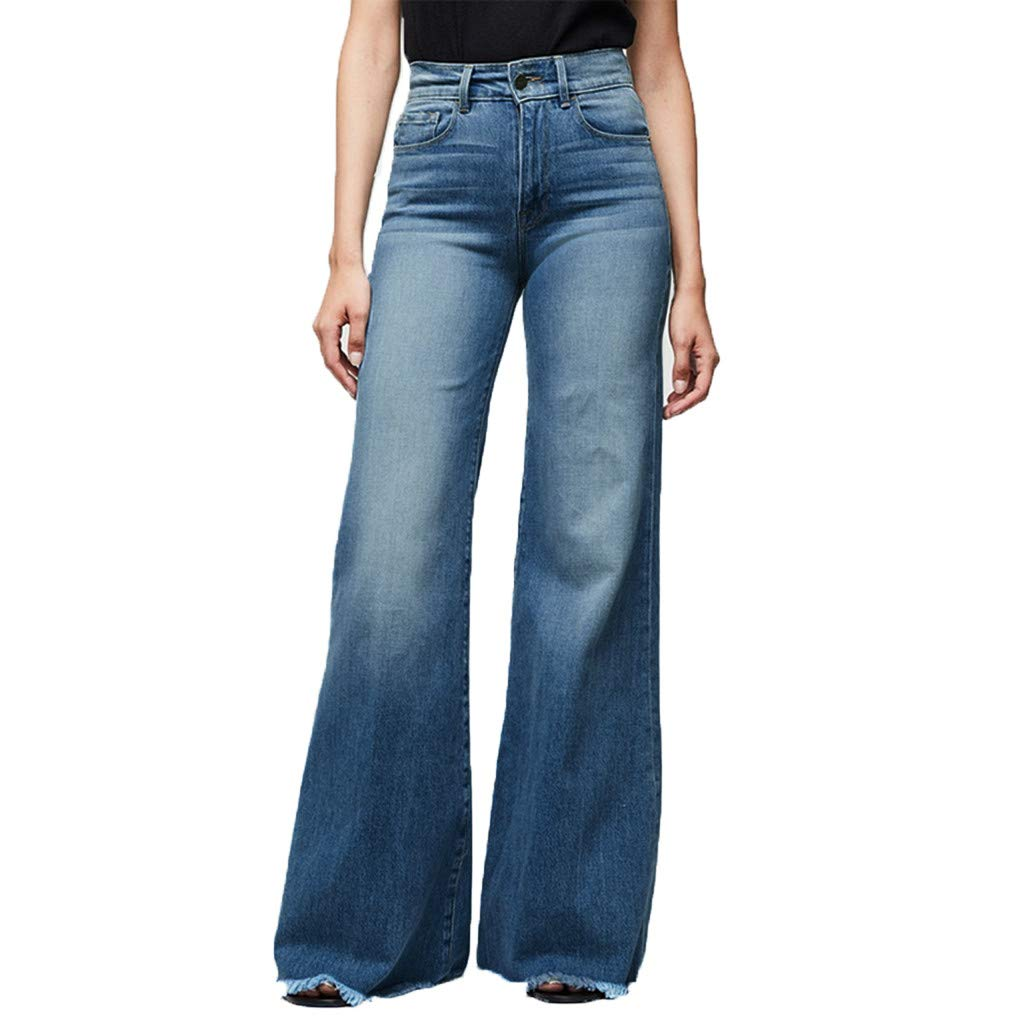 Creazrise Womens Fashion High Waist Pocket Wide Leg Stretch Jeans Sexy Wide Leg Pants Plus Size Blue by Creazrise Sports