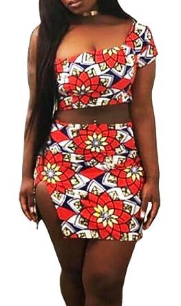 3930eeaf11bd65 Hurrg Women Sexy One Shoulder Crop Top Split Skirts Printed Romper Outfits  2 Piece Set Orange